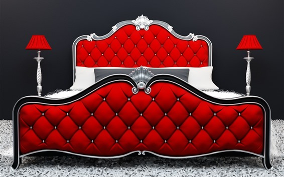 Wallpaper Modern style bed, red color