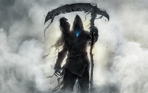 Обои Монстр, жнец, ворон, художественная картина