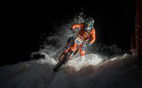 Wallpaper Motorcycle, race, snow, night