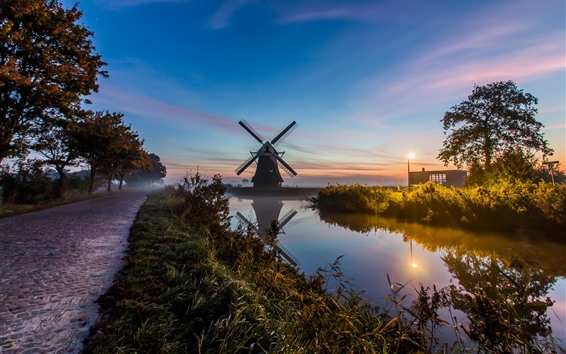 Wallpaper Netherlands, windmill, river, fog, morning, lights