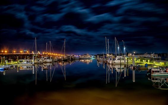Wallpaper Night, pier, yachts, sea