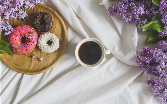 Wallpaper One cup coffee, donut, lilac flowers