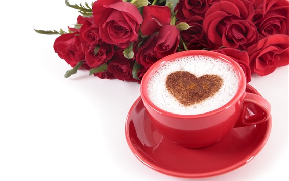 Wallpaper One cup of coffee, love heart, red roses, romantic