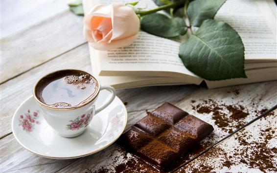 Papéis de Parede Uma xícara de chá, chocolate, rosa, livro
