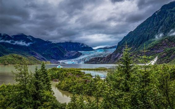 Papéis de Parede Céu nublado, montanhas, glacial, lago