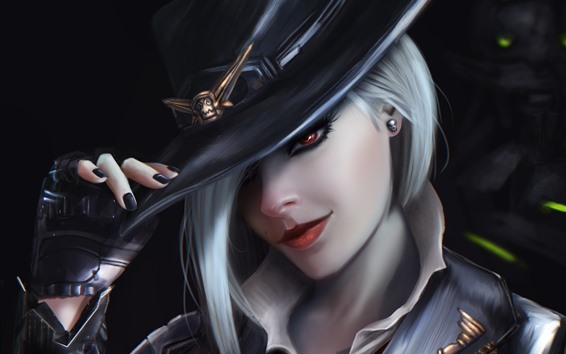 Fond d'écran Overwatch, fille, cheveux blancs, chapeau, photo d'art