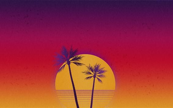 Fondos de pantalla Palmeras, mar, puesta de sol, cielo, imagen artística