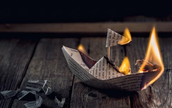 배경 화면 종이 배, 불