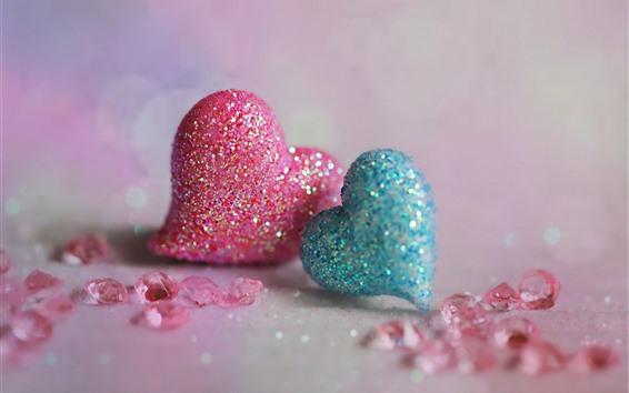 Hintergrundbilder Rosa und blaue Liebesherzen, Glanz, romantisch
