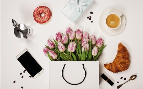 Wallpaper Pink tulips, bread, phone, coffee, donut
