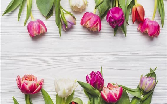 Wallpaper Pink tulips, wood board