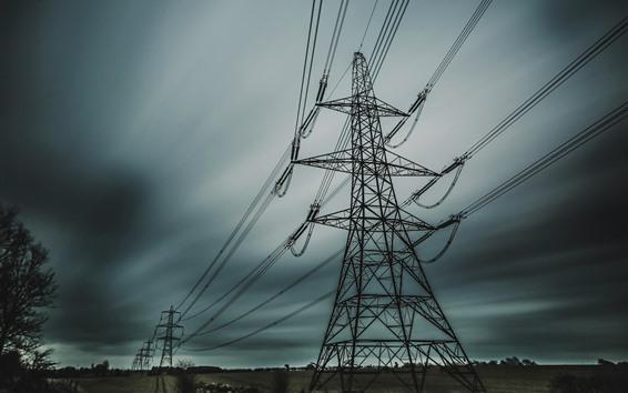 Fondos de pantalla Líneas eléctricas, anochecer