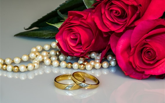 Wallpaper Red roses, wedding rings, pearl