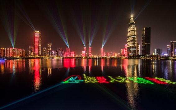 Papéis de Parede Shenzhen, show de luzes, noite, arranha-céus, lago