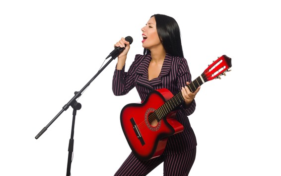 Wallpaper Singer, girl, microphone, guitar, white background