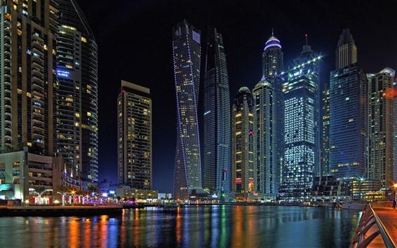 Fond d'écran Gratte-ciel, Dubaï, nuit, ville, rivière, lumières