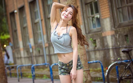 Hintergrundbilder Asiatisches Mädchen des Lächelns, Straße, Haltung