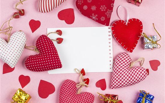 壁紙 いくつかの愛の心、装飾、ギフト、紙