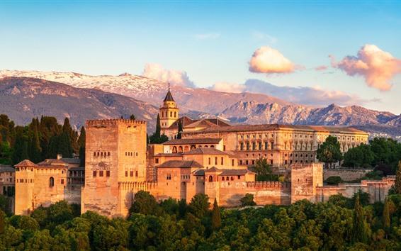 Papéis de Parede Espanha, granada, alhambra, cidade, casas, montanhas