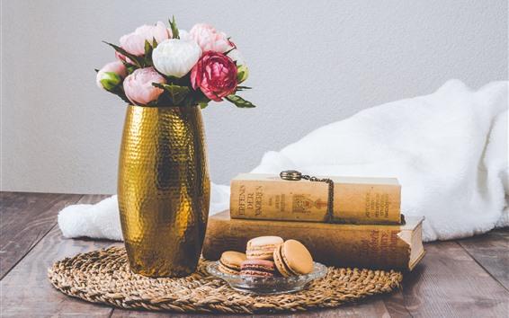 Wallpaper Still life, roses, books, cake, towel