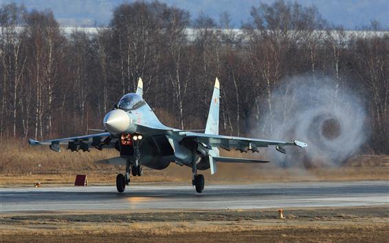 Wallpaper Su-30CM fighter, smoke