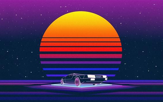 Papéis de Parede Pôr do sol, carro, imagem de arte