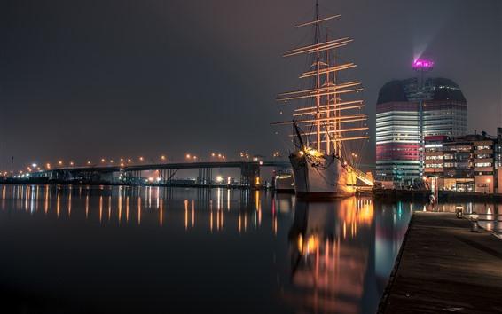 Обои Швеция, Гётеборг, река, ночь, мост, огни, корабль