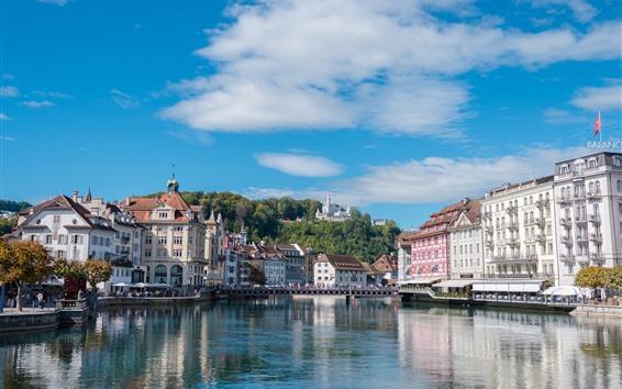 Fondos de pantalla Suiza, ciudad, río, edificios, castillo, cielo azul