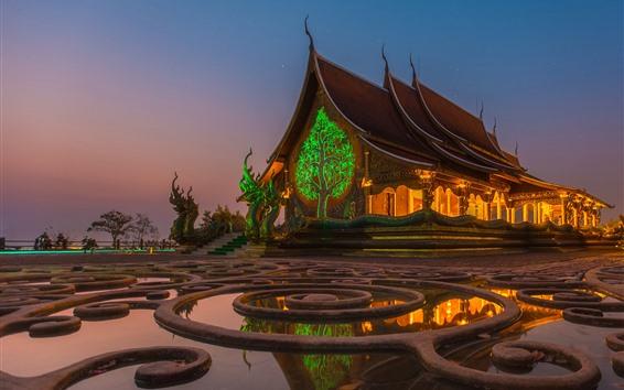 Обои Таиланд, храм, ночь, звёздная