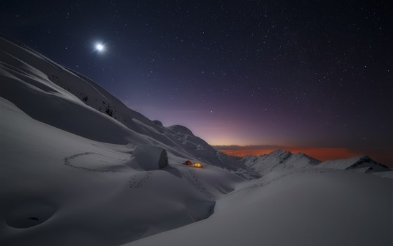 Wallpaper Thick snow, tent, night, stars, winter