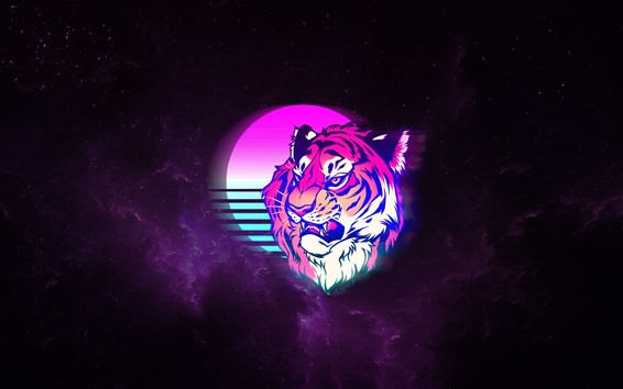 Wallpaper Tiger, face, moon, space, art picture