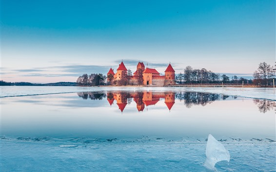 Wallpaper Trakai, Lithuania, castle, lake, snow, ice, winter