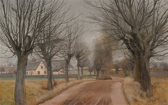Wallpaper Trees, path, village, art painting