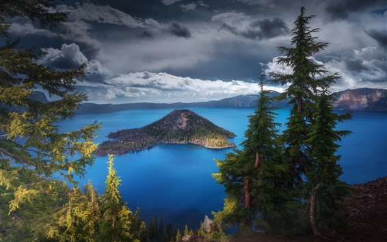 Papéis de Parede Eua, oregon, lago crater, árvores, natureza, paisagem