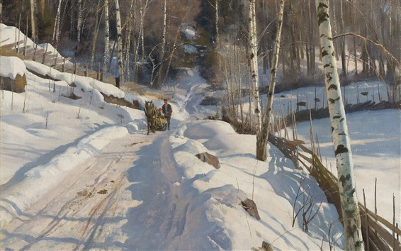Wallpaper Winter, snow, birch, trees, horse, path, oil painting