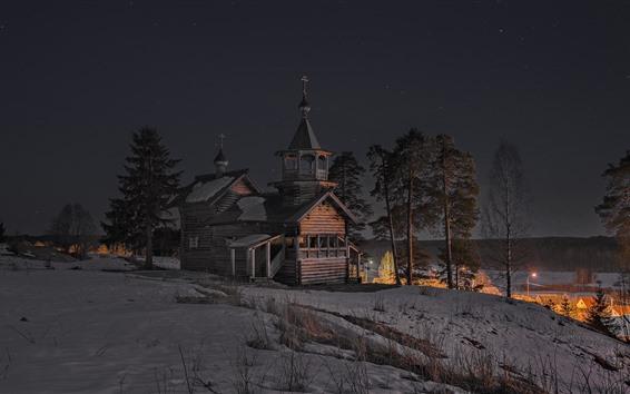 桌布 冬天,雪,教堂,樹木,夜晚