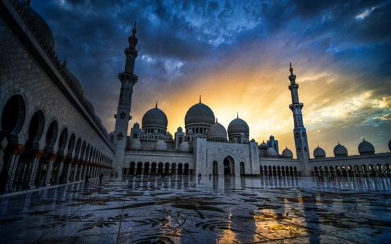壁紙 アブダビ、シェイクザイードグランドモスク、アラブ首長国連邦、夕暮れ