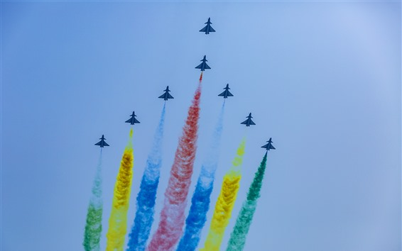 Wallpaper Aircraft, sky, flight, colorful smoke, China, Beijing