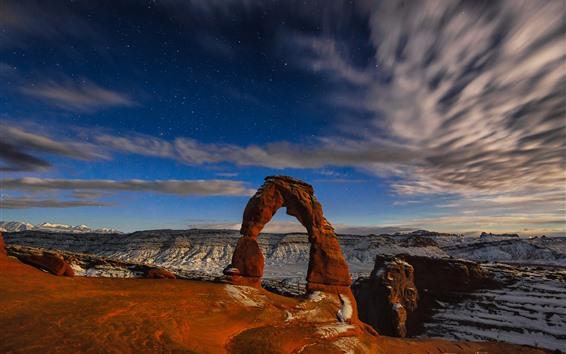 Fondos de pantalla Parque Nacional Arches, arco de roca, estrellado, anochecer, EE.UU.