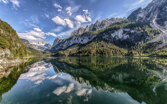 Papéis de Parede Áustria, Lago Gosau, Alpes, montanhas, reflexão da água