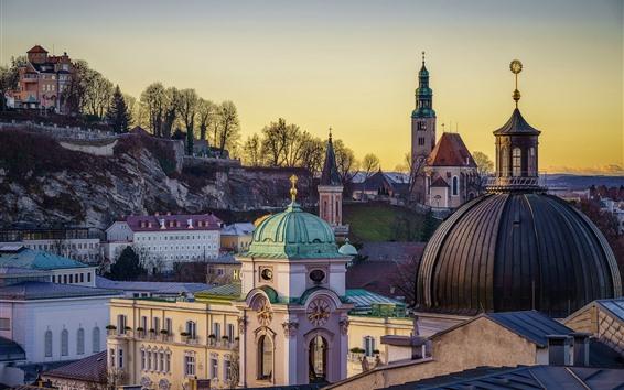 Papéis de Parede Áustria, Salzburgo, Igreja, cidade, árvores
