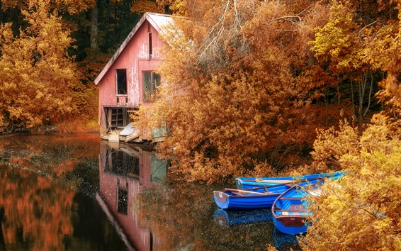 Wallpaper Autumn, trees, hut, boats, lake