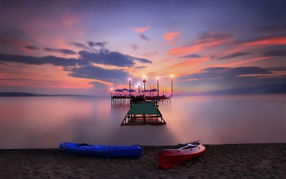 Papéis de Parede Praia, doca, mar, noite, luzes, barcos