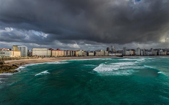 Обои Пляж, море, дома, город, облака, гроза