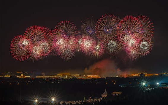 Wallpaper Beautiful fireworks, Beijing, China, night, October 1, 2019
