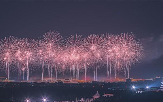 Fond d'écran Beau feu d'artifice, Beijing, Chine, nuit