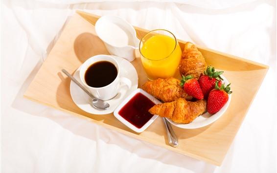 Обои Завтрак, кофе, круассаны, молоко, клубника, апельсиновый сок