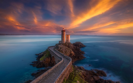 Wallpaper Brittany, France, lighthouse, bridge, sea, clouds, sunset
