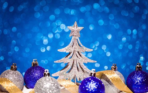 Wallpaper Christmas tree, balls, star, shine, light circles