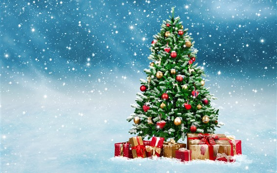 Fond d'écran Sapin de Noël, cadeaux, boules, flocons de neige, neige, briller